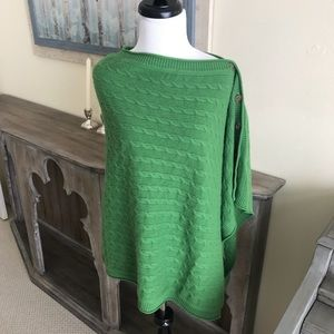 {Vince.} Green Cable Knit Cashmere Poncho Sweater